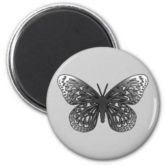 Mariposa gris imán redondo 5 cm