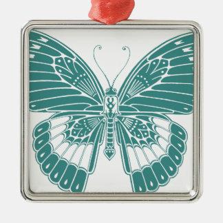 Mariposa hermosa adorno navideño cuadrado de metal