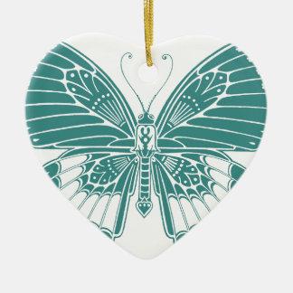 Mariposa hermosa adorno navideño de cerámica en forma de corazón