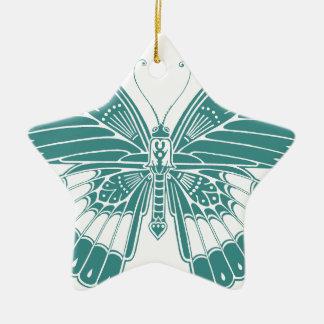 Mariposa hermosa adorno navideño de cerámica en forma de estrella