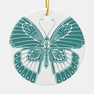Mariposa hermosa adorno navideño redondo de cerámica