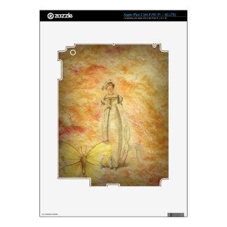 Mariposa hermosa de la mujer del vintage iPad 3 pegatina skin
