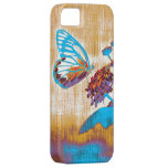 Mariposa hermosa del vintage en la flor iPhone 5 Case-Mate cárcasa