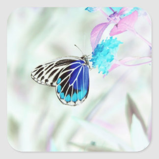 Mariposa hermosa en la flor - foto negativa 3 pegatina cuadrada