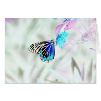 Mariposa hermosa en la flor - foto negativa 3 tarjeta de felicitación