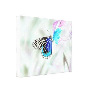 Mariposa hermosa en la flor - foto negativa lona envuelta para galerías