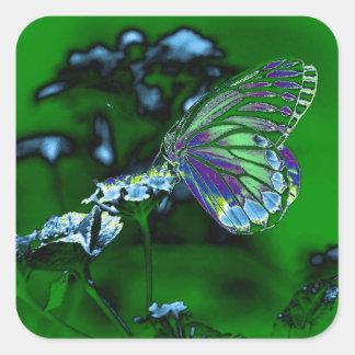Mariposa hermosa en la flor - foto negativa pegatina cuadrada