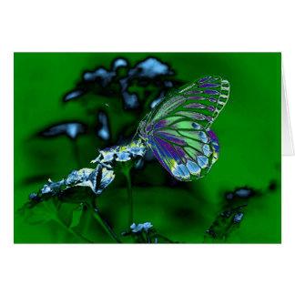 Mariposa hermosa en la flor - foto negativa tarjeta de felicitación