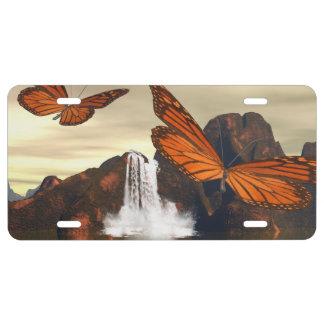 Mariposa hermosa placa de matrícula
