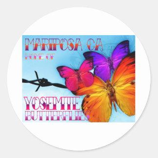 Mariposa Home of Yosemite and Butterflies Classic Round Sticker
