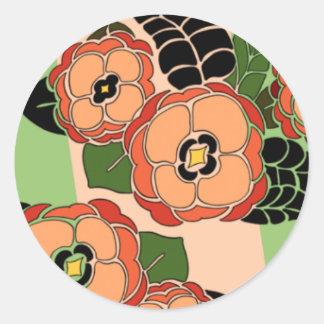 Mariposa in Orange & Green - Round Stickers