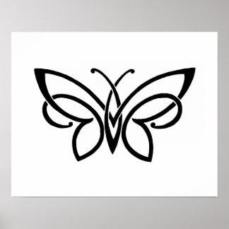 Mariposa intrépida blanco y negro póster