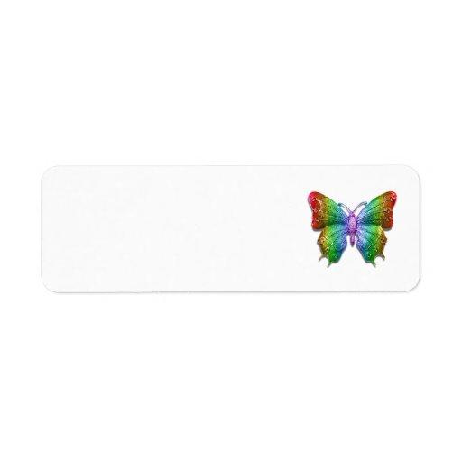 Mariposa Jeweled 3D hermosa del arco iris Etiqueta De Remitente