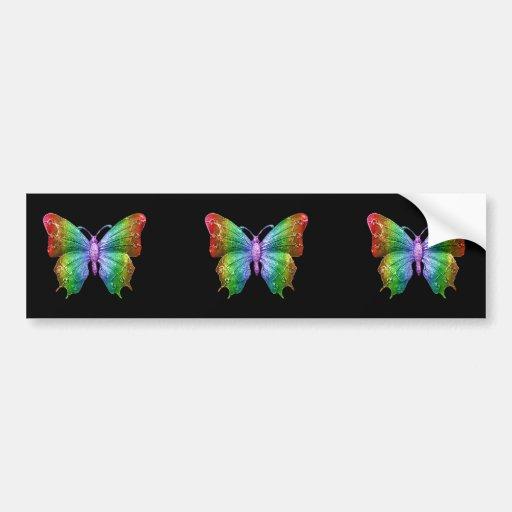 Mariposa Jeweled 3D hermosa del arco iris Pegatina Para Auto