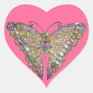 Mariposa Jeweled hermosa Pegatina En Forma De Corazón