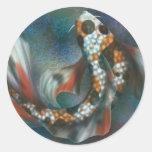 Mariposa Koi del arco iris Etiqueta Redonda