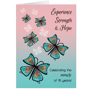 Mariposa limpia y sobria del milagro de 15 años tarjeta de felicitación