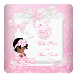 """Mariposa linda AA del rosa del chica de la fiesta Invitación 5.25"""" X 5.25"""""""