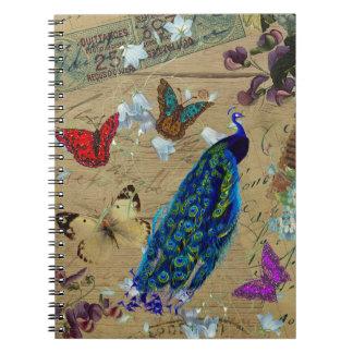 Mariposa linda del pavo real colorido azul del vin libretas espirales