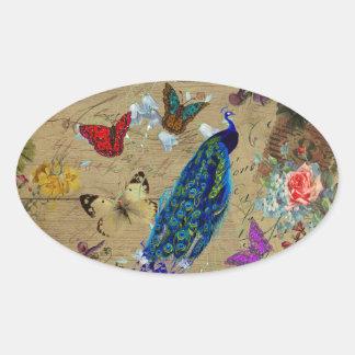 Mariposa linda del pavo real colorido azul del vin pegatina óval personalizadas
