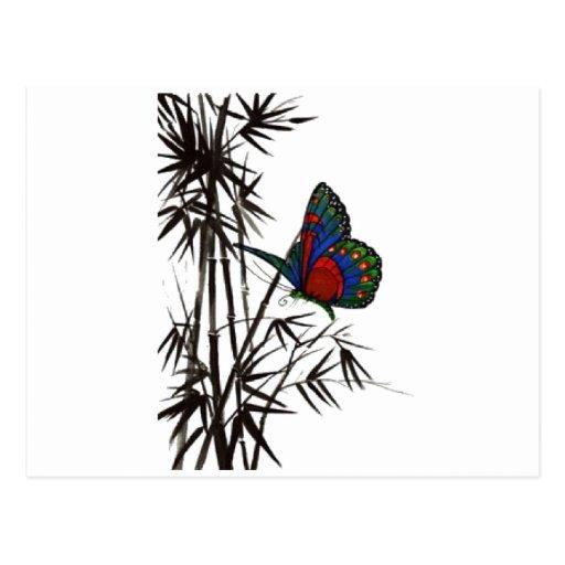mariposa linda en bambú tarjetas postales