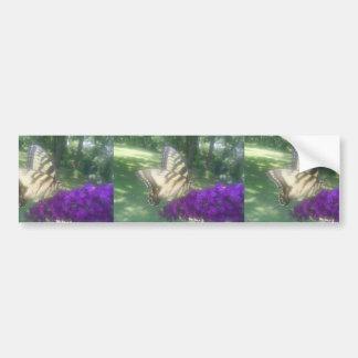 Mariposa linda en la flor púrpura etiqueta de parachoque