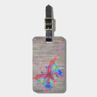 Mariposa linda fresca del vintage de las salpicadu etiqueta para maleta