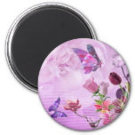 Mariposa linda púrpura rosada colorida abstracta iman de frigorífico