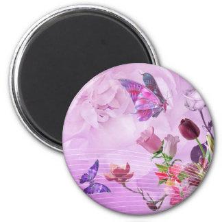 Mariposa linda púrpura rosada colorida abstracta imán redondo 5 cm