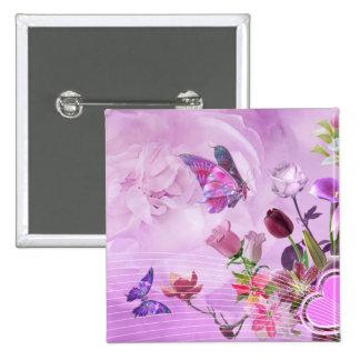 Mariposa linda púrpura rosada colorida abstracta pin cuadrado