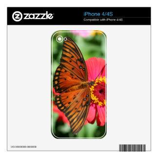 Mariposa magnífica en diseño rojo del Zinnia iPhone 4 Skins