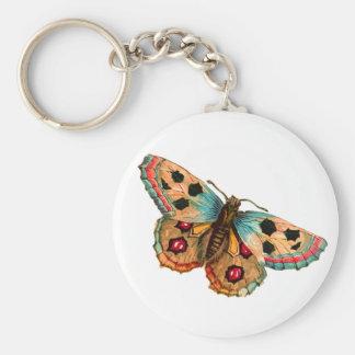 Mariposa manchada negro llavero redondo tipo pin