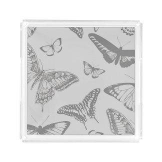 Mariposa (mariposas), insectos - gris pálido bandeja cuadrada