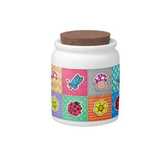 Mariposa, mariquita, y flor lindas y coloridas jarras para caramelos