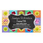 Mariposa, mariquita, y flor lindas y coloridas tarjetas personales