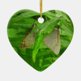 Mariposa masculina y femenina en un corazón ornamento para arbol de navidad
