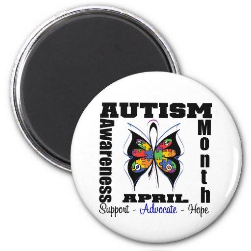 Mariposa - mes de la conciencia del autismo imán para frigorífico
