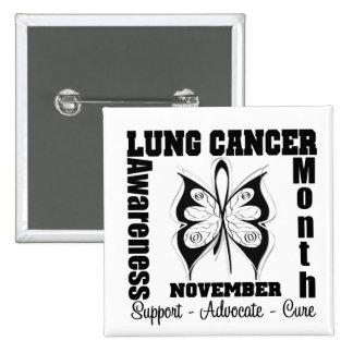 Mariposa - mes de la conciencia del cáncer de pulm pin cuadrada 5 cm