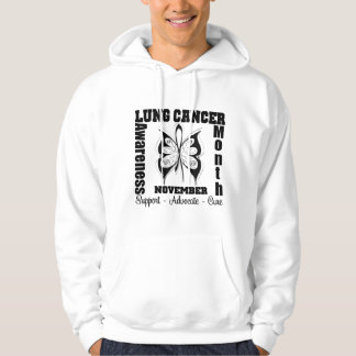 Mariposa - mes de la conciencia del cáncer de sudadera con capucha
