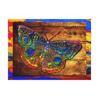 Mariposa metálica del país del arco iris lona envuelta para galerías