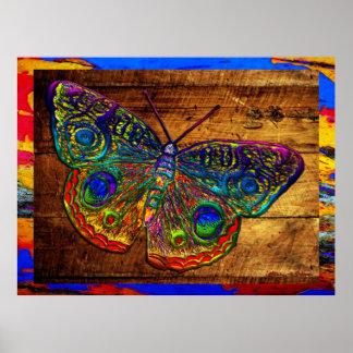 Mariposa metálica del país del arco iris póster