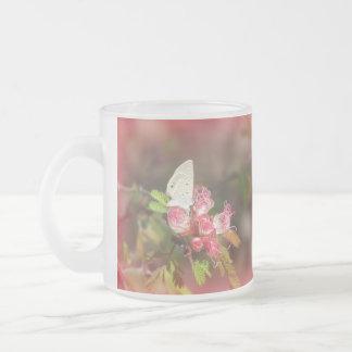 Mariposa minúscula en la taza rosada de la flor