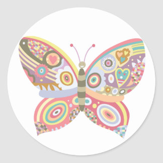 Mariposa modelada pegatina redonda