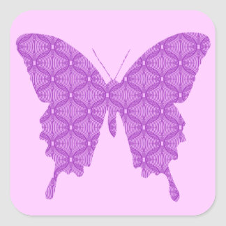 Mariposa modelo abstracto lavanda y púrpura colcomanias cuadradass