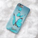 Mariposa moderna ligera de 3 azules funda de iPhone 6 barely there