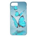 Mariposa moderna ligera de 3 azules funda iPhone 7