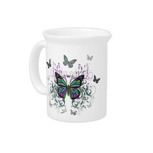 Mariposa multicolora jarra para bebida
