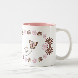 Mariposa napolitana del primer cumpleaños taza de dos tonos