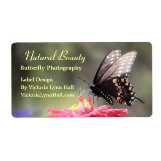 Mariposa natural de la belleza etiqueta de envío