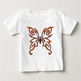 Mariposa negra anaranjada playera para bebé